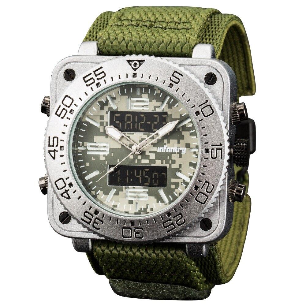 歩兵メンズ腕時計トップブランドの高級アナログデジタルミリタリー腕時計メンズ戦術的なスクエアビッグ腕時計男性レロジオ Masculino  グループ上の 腕時計 からの クォーツ時計 の中 2