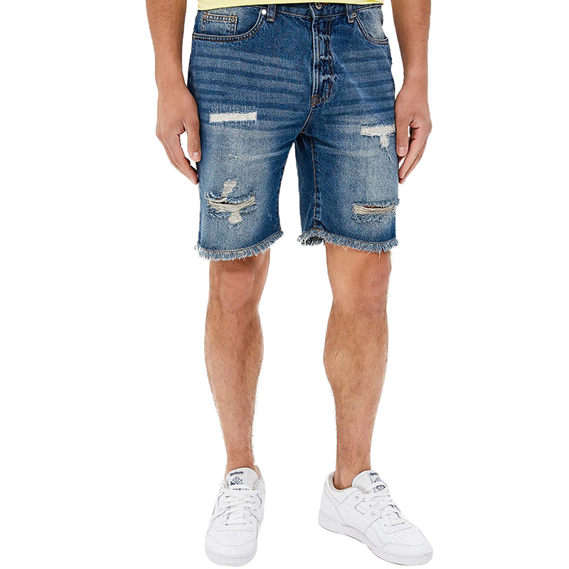 Casual Shorts MODIS M181D00265 men cotton shorts for male TmallFS casual summer ripped straight legs zip fly denim shorts for men