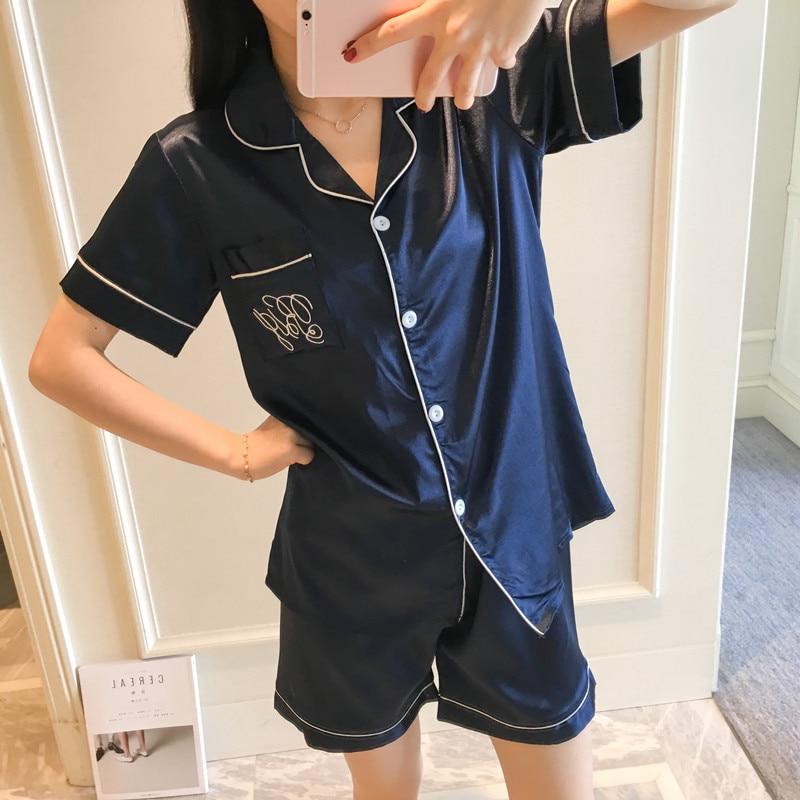 Women   Pajamas     Sets   Silk   Pajamas   Two Piece   Set   Shirt and Shorts Satin Pijamas Pocket Front Pyjamas for Women turn-down collar