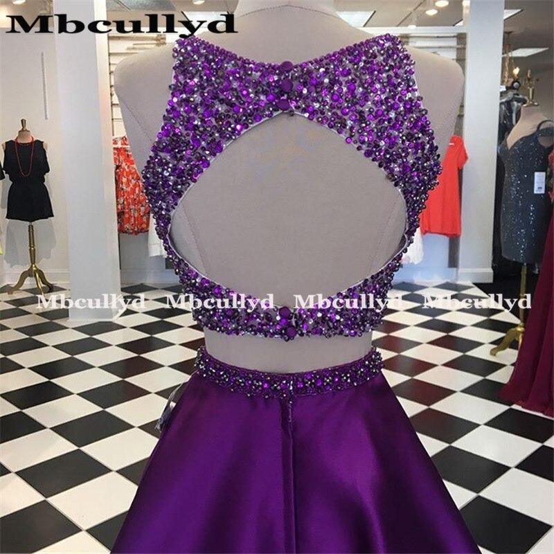 Mbcullyd сверкающие Бисероплетение Кристальные платья 2020 сексуальные фиолетовые две части вечернее платье на выпускной платье для женщин - 3
