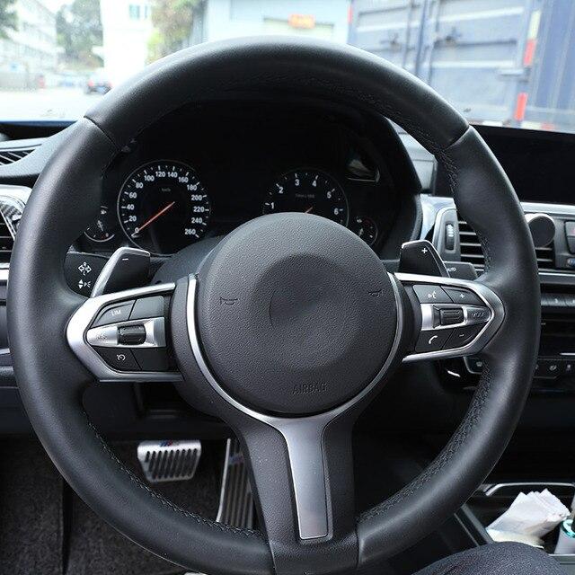 Carbon Fiber For BMW F20 F22 F21 F30 F32 F33 F36 F06 F12 F13 X5 F15 X6 F16 M-Sport ABS ChromSteering Wheel Decoration Frame Trim 6