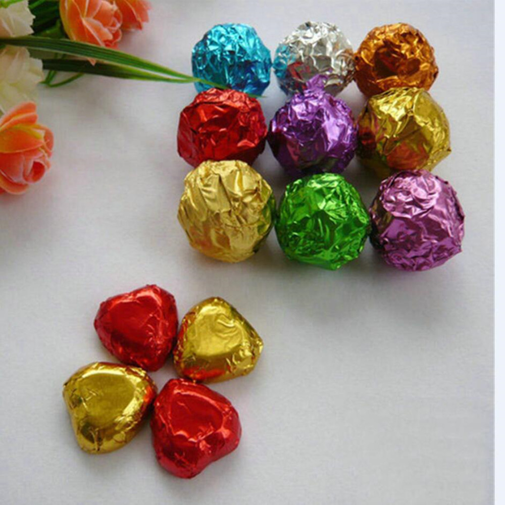 Retail 500Pcs/Lot 15*15cm 5.9x5.9 Multi Colored Foil Wrapper For Chocolates Candy Sweet Paper Square Colorful Tin Foil