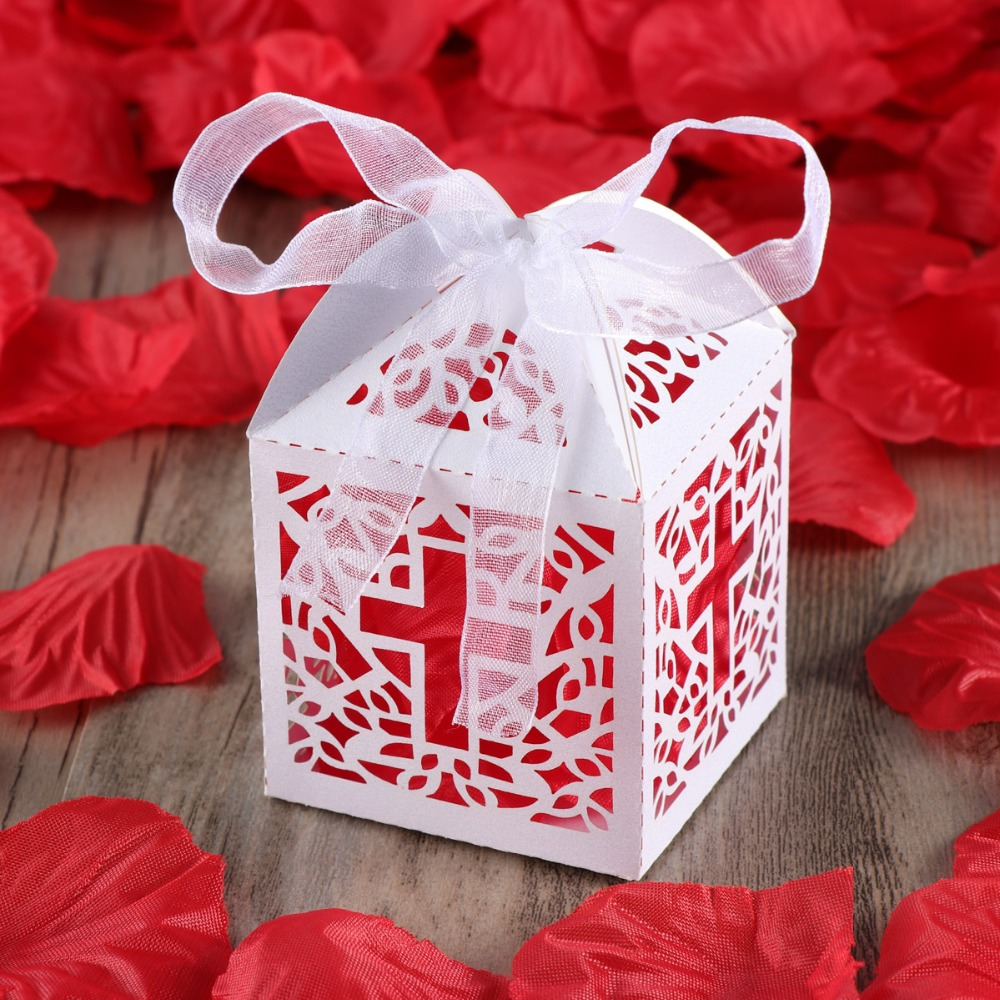 50pcs Hollow Cross Style Wedding Candy Box Sweets Gift Favor Boxes ...