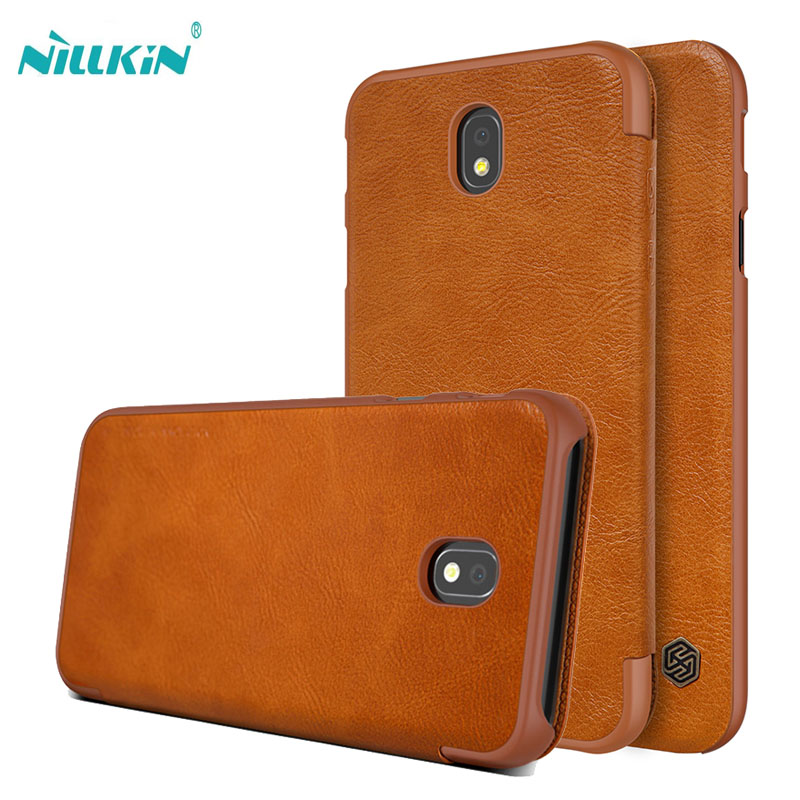 Nillkin Qin Flip case for samsung galaxy J7 2017 PU leather cover hard plastic back case