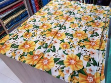 chinese pure silk satin 114CM width print fabric cheongsam fashion skirt white back with yellow sun flowers lily pattern 19M/M