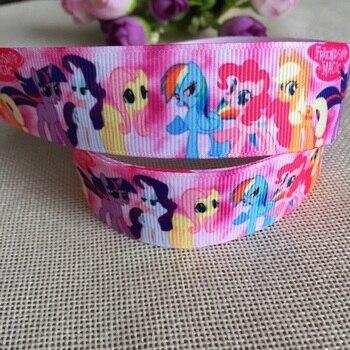 "1 ""25MM Kawaii  My Little Pony Cartoon Character printed Grosgrain Ribbon party decoration satin ribbons 5 yards"