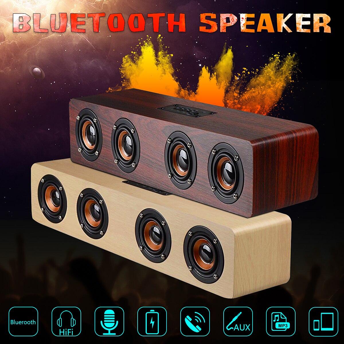 12W Wooden Bluetooth Speaker Wireless font b Portable b font Hi Fi Loud Quad Bass Speaker