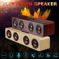 12W Wooden Bluetooth Speaker Wireless Portable Hi Fi Loud Quad Bass Speaker FM Radio TF Card AUX TV Home Music Player Speaker