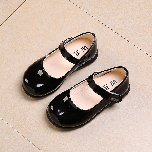 MSMAX Children School Single Shoes Girls Round Toe Simple Hook Loop  Breathable Black Dress Party Shoes Kids Wedding Causal Shoes 03895f781308
