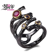 DreamCarnival 1989 Gothic Hollow Ring for Women Rolling Braided Jewelry Fuchsia Purple CZ Vintage Black Gold Color anillos mujer