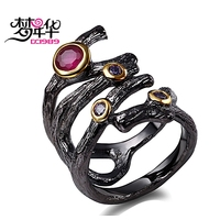 DC1989 Free Shipping 2016 Cubic Zirconia Fuchsia Purple 18K Gold Black Plated Abstract Evening Cocktail Rings