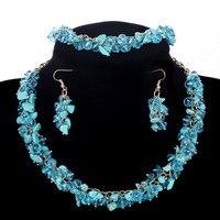 Bib Statement Sky Blue Gems Jewelry Set Choker Collar Beads Necklace Party Jewelry Accessories Bracelet Sapphire
