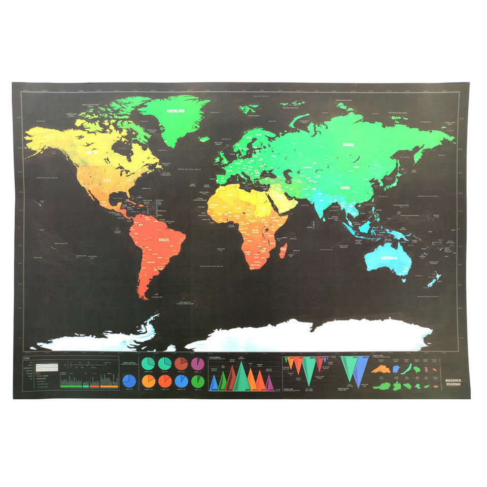 Scratch Map of World Travel Edition Deluxe Scratch Off Map Henkilökohtainen maailmankartta Juliste Black Traveler Journal Log Gift