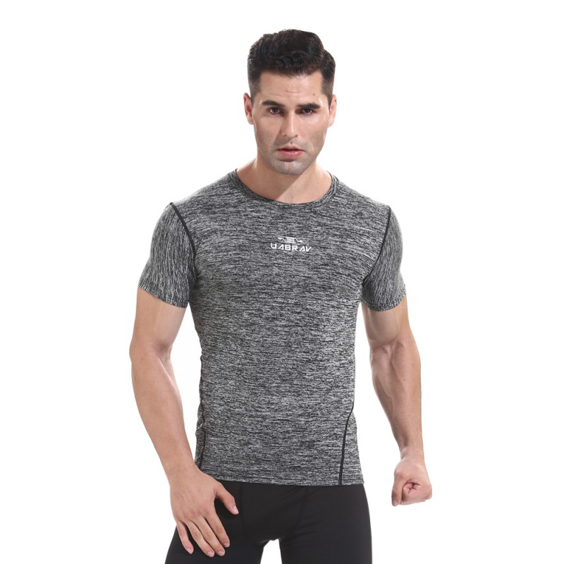 Men Boy Training Tops Men Tight T-Shirt Men Gym Sports Short Sleeve T-Shirt Gym Running Tops