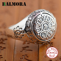 BALMORA Vintage 100 Real 925 Sterling Silver Jewelry Buddhistic Six Words Mantra Rings For Women Men