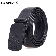 LA SPEZIA Automatic Buckle Belt Men Genuine Leather Black Belt Without Holes Male Office Real Leather Mens High Quality Belts цена и фото