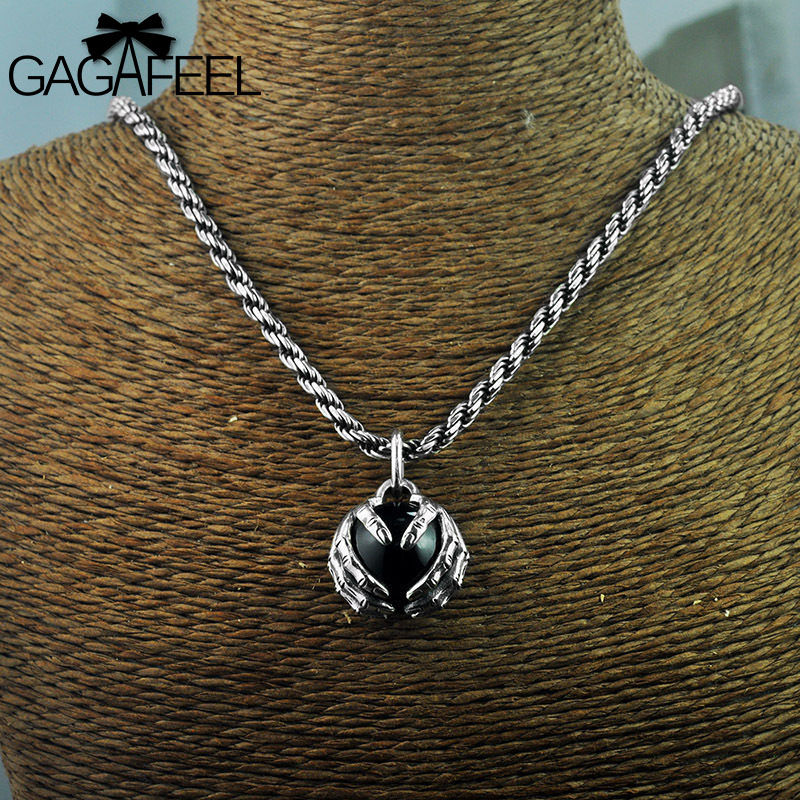 Gagafeel Real 925 Sterling Silver Vintage Hand Holding Beads Pendants Necklaces for Men Accessory Gifts Silver Charms Dropship
