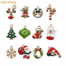 Julie Wang, 12 шт., сплав, эмаль, Санта Клаус, Рождественская елка, обувь, олень, снежинка, подвески, подвеска, ювелирное изделие, Рождественское украшение