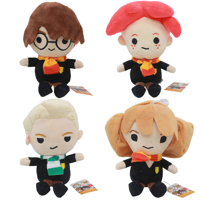 25cm Cute Harry Potter Plush Toy Dolls Q Version Malfoy Hermione Dobby for Gifts funko pop keychains harry potter series q version key ring hermione granger lord voldemort severus snape dobby key fob sp1632