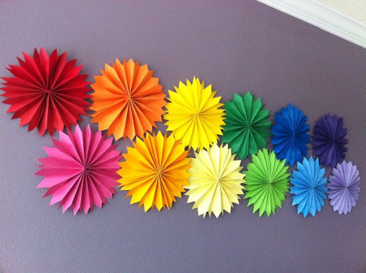 wedding hanging tissue fans rosettes pinwheels fiesta tissue fans rainbow party decoration summer photo prop table - Decorative Fans