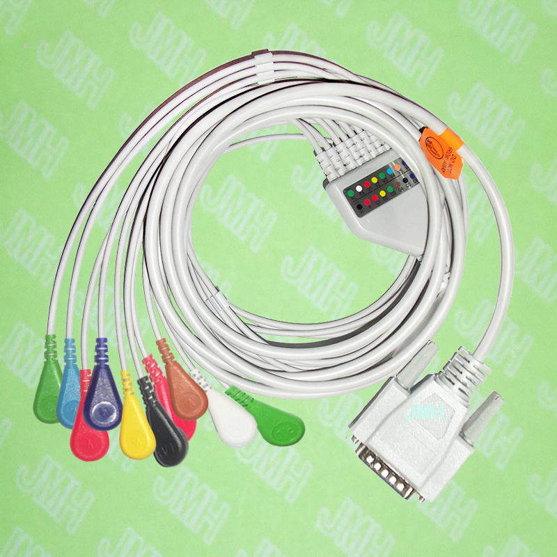 Use for 15 pin Nihon Kohden,Fukuda Cardisuny EKG Machine the ECG One-piece 10 leads cable and Snap leadwires,IEC or AHA. стоимость