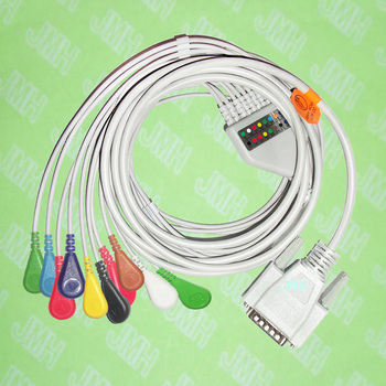 Use for 15 pin Nihon Kohden,Fukuda Cardisuny  EKG Machine the ECG One-piece 10 leads cable and Snap leadwires,IEC or AHA.
