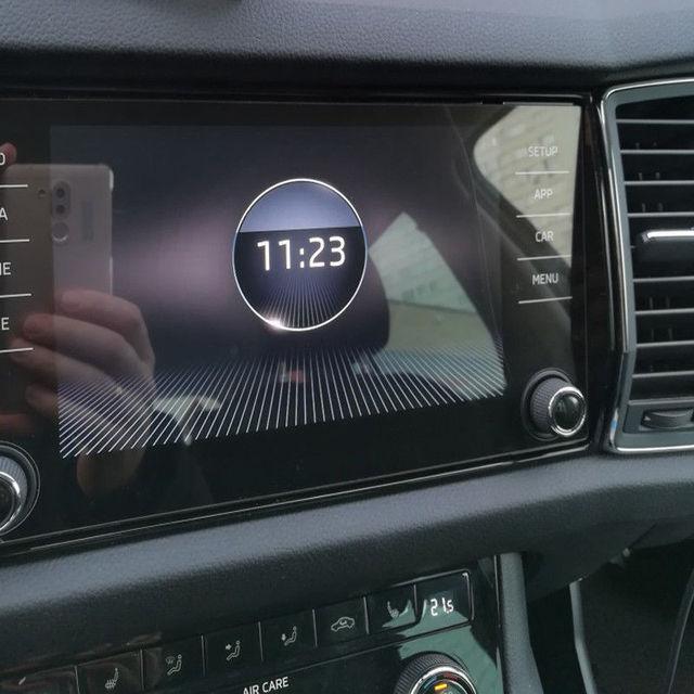 KEMiMOTO Steel 8 Inch For Skoda Kodiaq Karoq 2017-18 Screen Protective Film Car GPS Navigation Tempered Glass Screen Protector