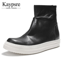 Kaypsre winter zip high-help board shoes men's genuine leather casual Fashion wear-resistant breathable single
