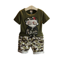 цена на Baby Boys Clothes Set Summer 2020 Children Clothing Casual Camouflage Kids Short Sleeves T-Shirt+Shorts Suits 2 3 4 5 6 7 Years
