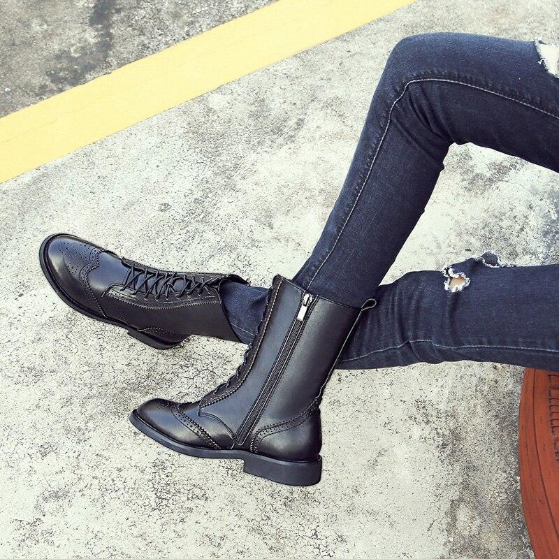 Hiver Femme Automne 2018 Cuir Véritable Punk Chaussures n0wOPXNk8