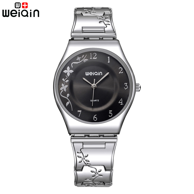 WEIQIN Fashion Quartz Watch Women Stainless Steel Braceet Watches Ultra Thin Dial Reloj Mujer 2017 Female Clock Ladies Watches 2016 weiqin famous brand business women watch 5 atm leather strap analog calendar function female quartz watch reloj mujer