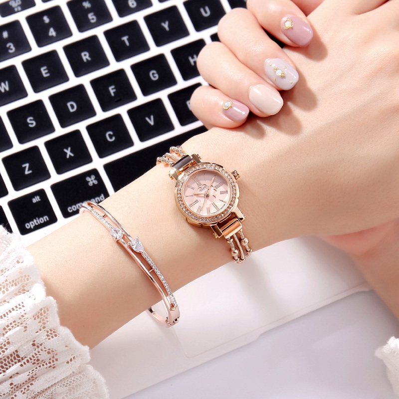 New Luxury Crystal Women Bracelet Rhinestone Wristwatch Ladies Gold Silver Waterproof Watches Fashion Casual Quartz Watch