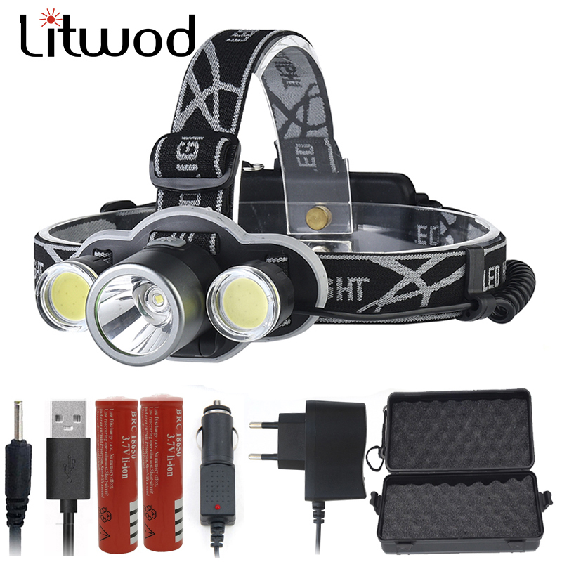 Litwod Z20 XM-L T6 Headlight rechargeable 18650 LED headlamp <font><b>10000LM</b></font> head lamp flashlight head Torch For camping hunting image
