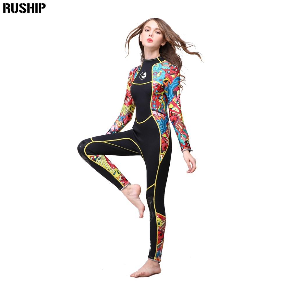 Qualité supérieure 3mm femmes combinaison de plongée en néoprène Haute élasticité couleur couture Surf matériel de plongée Méduses longueur de vêtement à manches longues