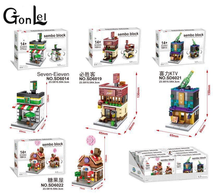 GonLeI 4pcs SD6014-6022 New Mini Street View Building Block Museum Have Light Compatible With Lepin City Toys Free shipping movado museum classic new 606503