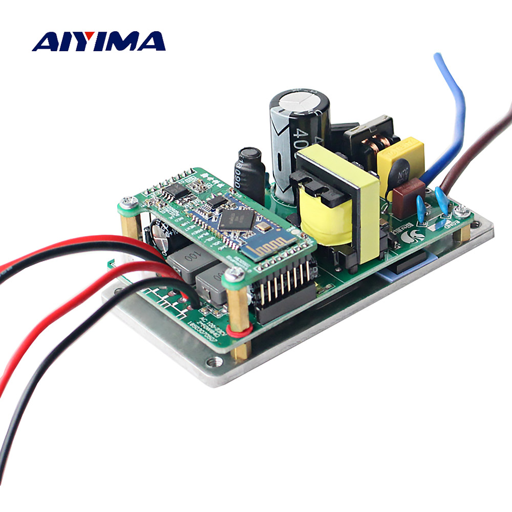 Aiyima TPA3116 Bluetooth 4.0 Digital Amplifier Audio Board 2*60W 2.0 Dual Channel Active Speaker Power Amplifier Board AC Power aiyima upc1237 speaker protection board dual channel power on delay dc protect module 11 26v for audio amplifier amp diy