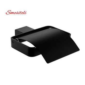 Wall Mount SUS304 Stainless Steel Toilet Paper Holder With lid Square Roll Bathroom Accessory Matte Black/Brushed