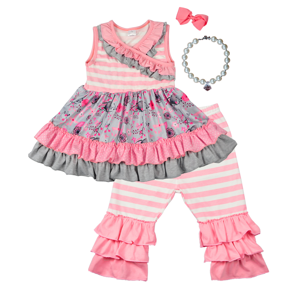 Hot Pink Baby Girls Summer Clothing Sets Striped Sleeveless Dress Ruffles Capris Boutique Kids Boutique Sets Match Bow Necklace new girls outfit be a flamingo floral coral mint kids boutique shorts sets ruffles cotton clothing match with accessories