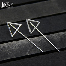JINSE 925 Silver Triangle Earring 43mm Long 100% S925 Sterling boucle doreille Drop Earrings for Women Jewelry 14*43mm
