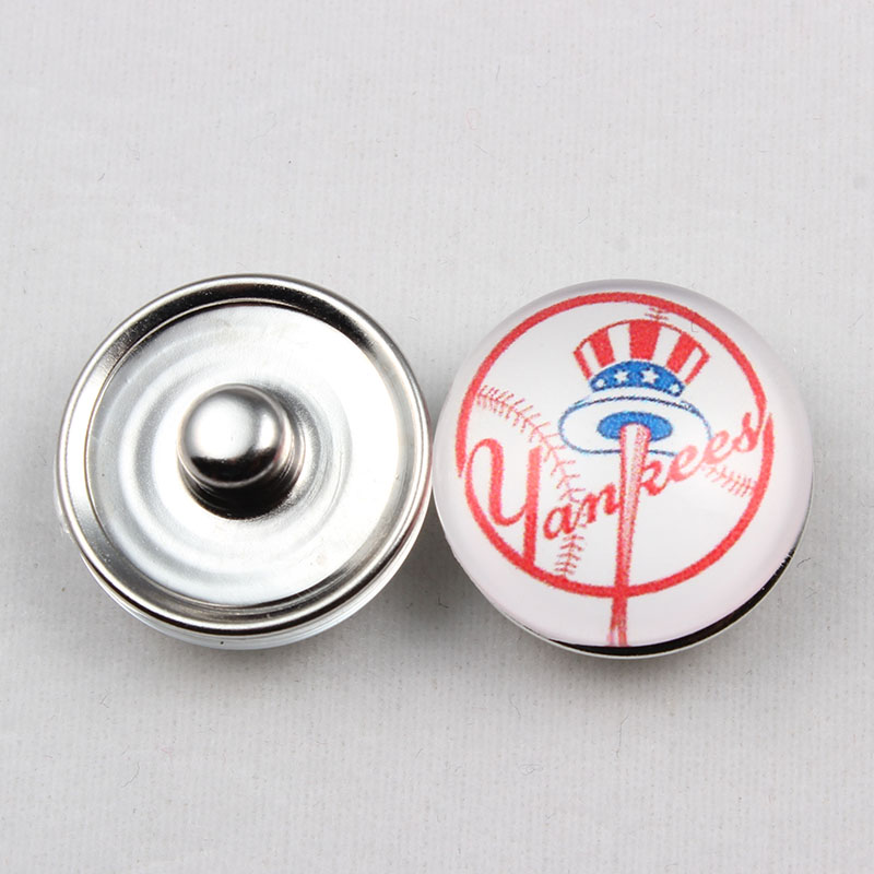 20 Pcs NY Yankees Snap Button 18mm Glass Baseball Baseball Team Snap Charms For Snap Button Jewelry