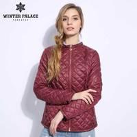 2018 Wine color thin cotton coat women Slim fashion style cotton jacket woman spring cotton coat thin cotton jacket