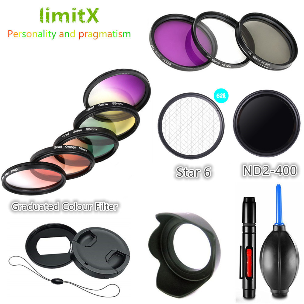 Filter set UV CPL ND FLD Graduated Colour Star Adapter Ring Lens Hood Cap Cleaning Pen