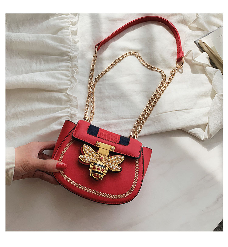 Imitation Designer Bags Fashion Bee Shoulder handbag for women Luxury Round PU Cross body Chain Bag Pearl Metal Lock Women's Bag (4)