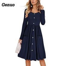 Genuo Women Autumn Dress Elegant Casual Beach Button Through Pocket Vestidos Long Sleeves A-Line Midi Dresses OutfitSize S-3XL button through calico dress