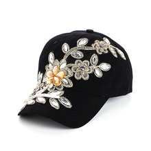 2019 summer Delicate Women Diamond Flower Baseball Cap Snapback Style Lady Jeans Hats Hot SellingGorras wholesale