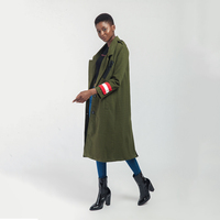 New 2018 Winter European Style Army Green Color Jackets Wool&Blends Ladies Outerwears Patchwork Double Breasted Basic Coats