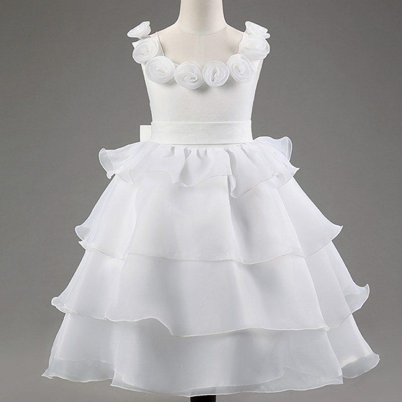 Girl White Dress Rose Lace Costume Wedding Dresses Princess Toddler Girls tutu Summer Party Prom for girl Kids Evening Clothing girl white dress rose lace costume wedding dresses princess toddler girls tutu summer party prom for girl kids evening clothing