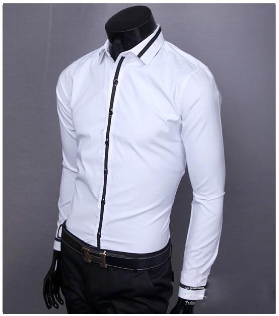 2015 nuevos hombres camisa moda de manga larga bordar