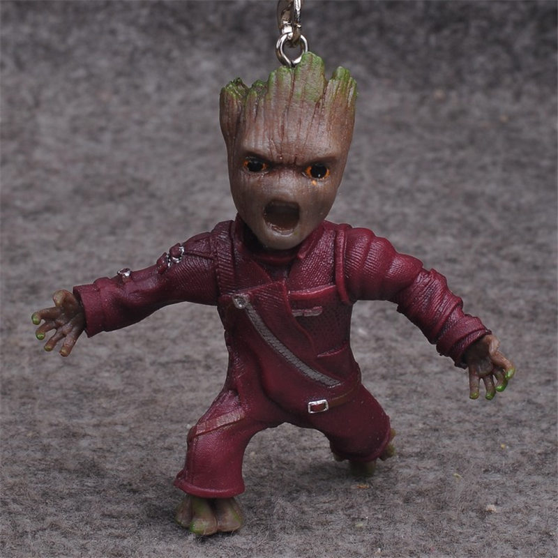 ZXZ Movie Guardians of the Galaxy version Treant Grootted Action figure PVC Doll Ornaments Toys For kids Keychain Key Gift
