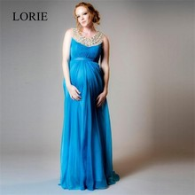 Luxury Rhinestone Maternity Evening Dresses For Pregnant Woman 2016 A Line Jewel Neck Crystal Prom Formal Chiffon Party Dresses